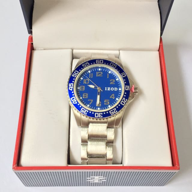 IZOD MEN'S STAINLESS STEEL BLUE DIAL WATCH AUTHENTIC