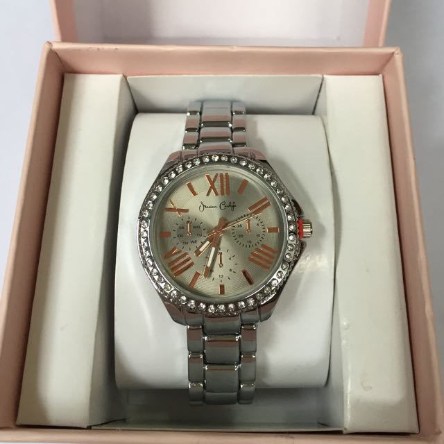 JESSICA  CARLYLE CRYSTAL BEZEL SILVER-TONE WOMEN'S WATCH AUTHENTIC