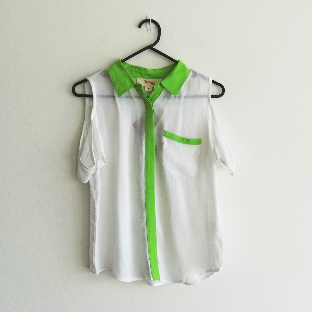 Kenji Size 10 White and Neon Green Collar Blouse