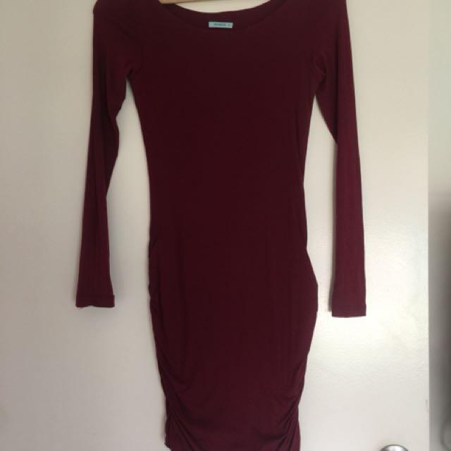 Kookai maroon long sleeve dress