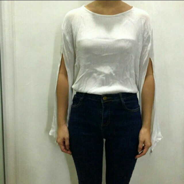 Korean brand cape style white top