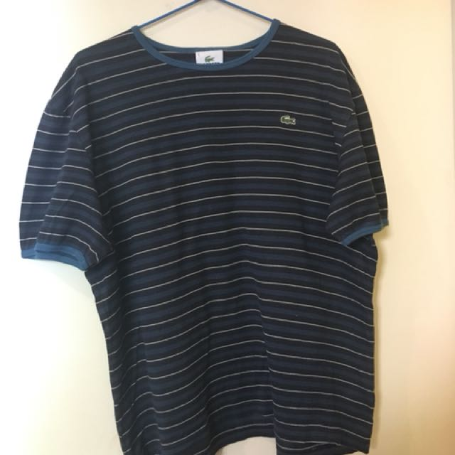 Lacoste Navy Striped Tee