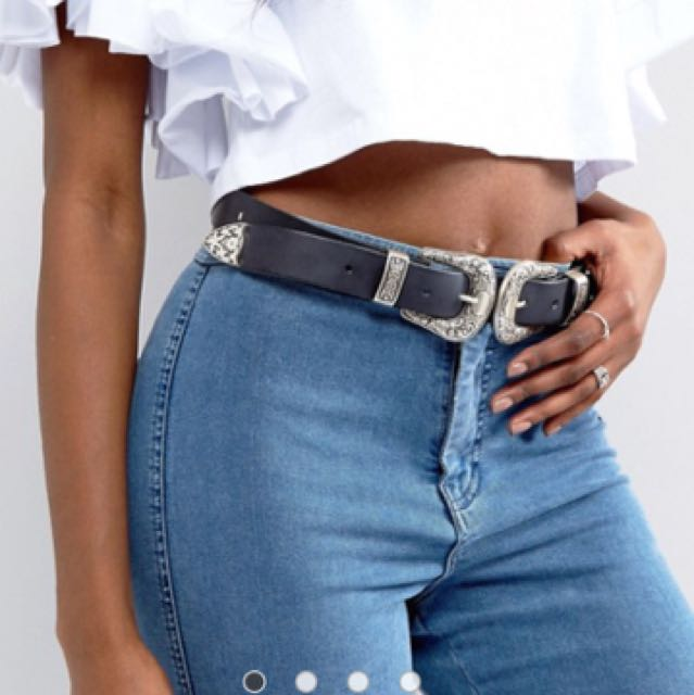 Leather double buckle belt - ASOS New with tag