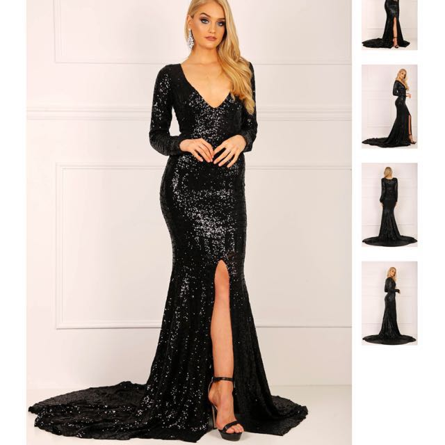 Long Sleeve Sequinned Gown