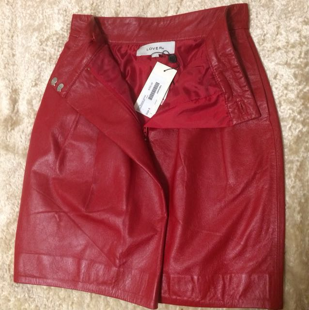 Lover the Label warrior red leather skirt size 6