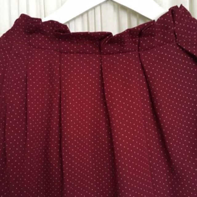 Maroon Polka Dot Chiffon Skirt