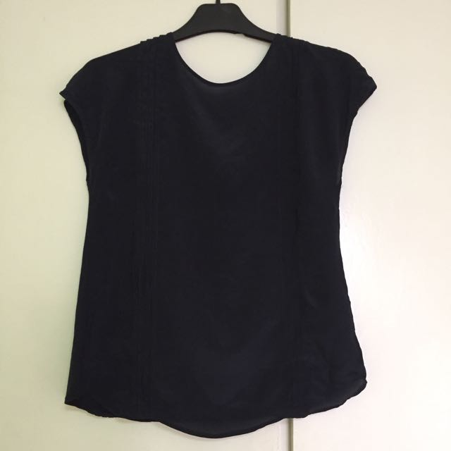 ce5e6e93ecdddc Massimo Dutti Navy Blue Silk Top, Women's Fashion, Clothes, Tops on ...