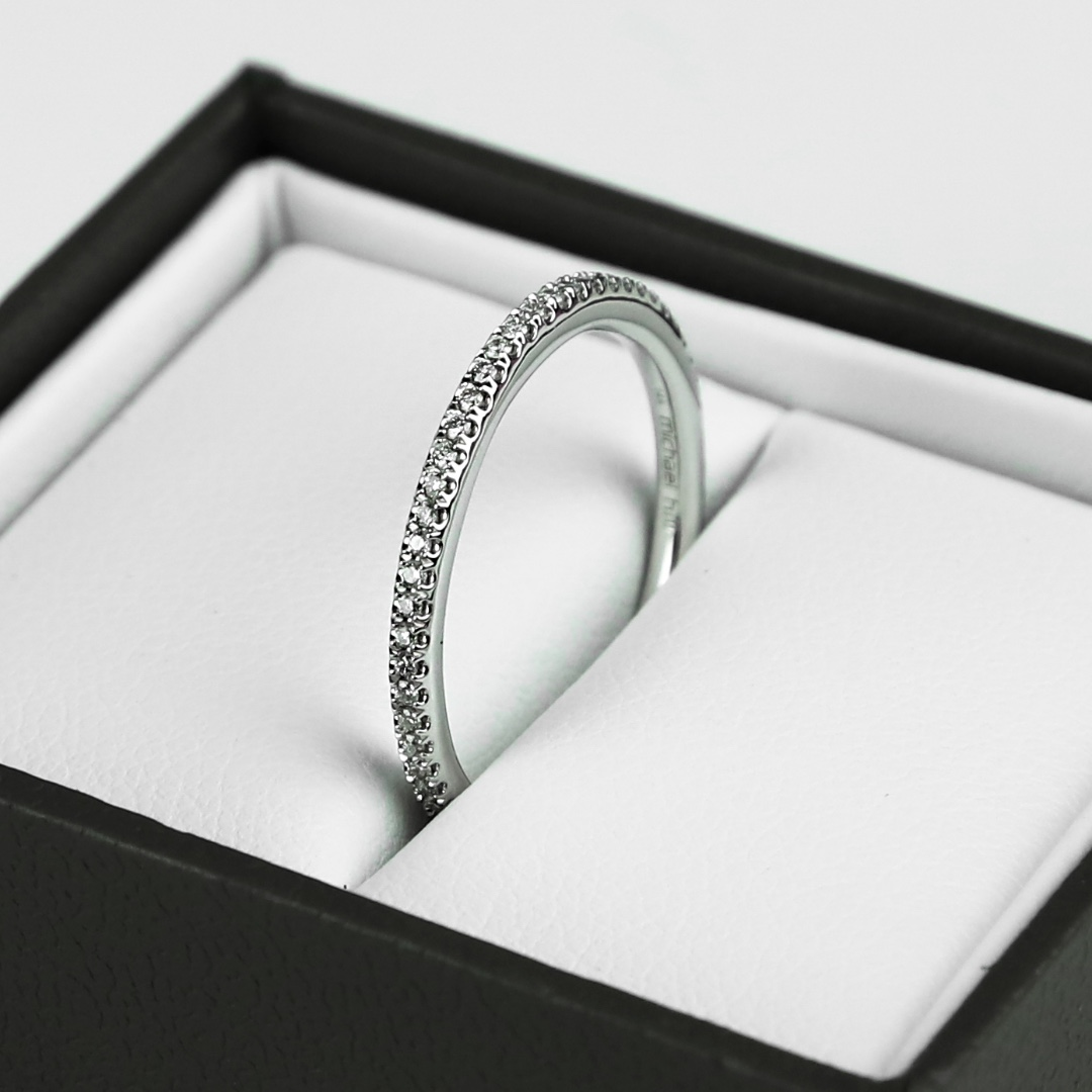 Michael Hill 14kt White Gold 0.18ct Diamond Set Womens Wedding Band