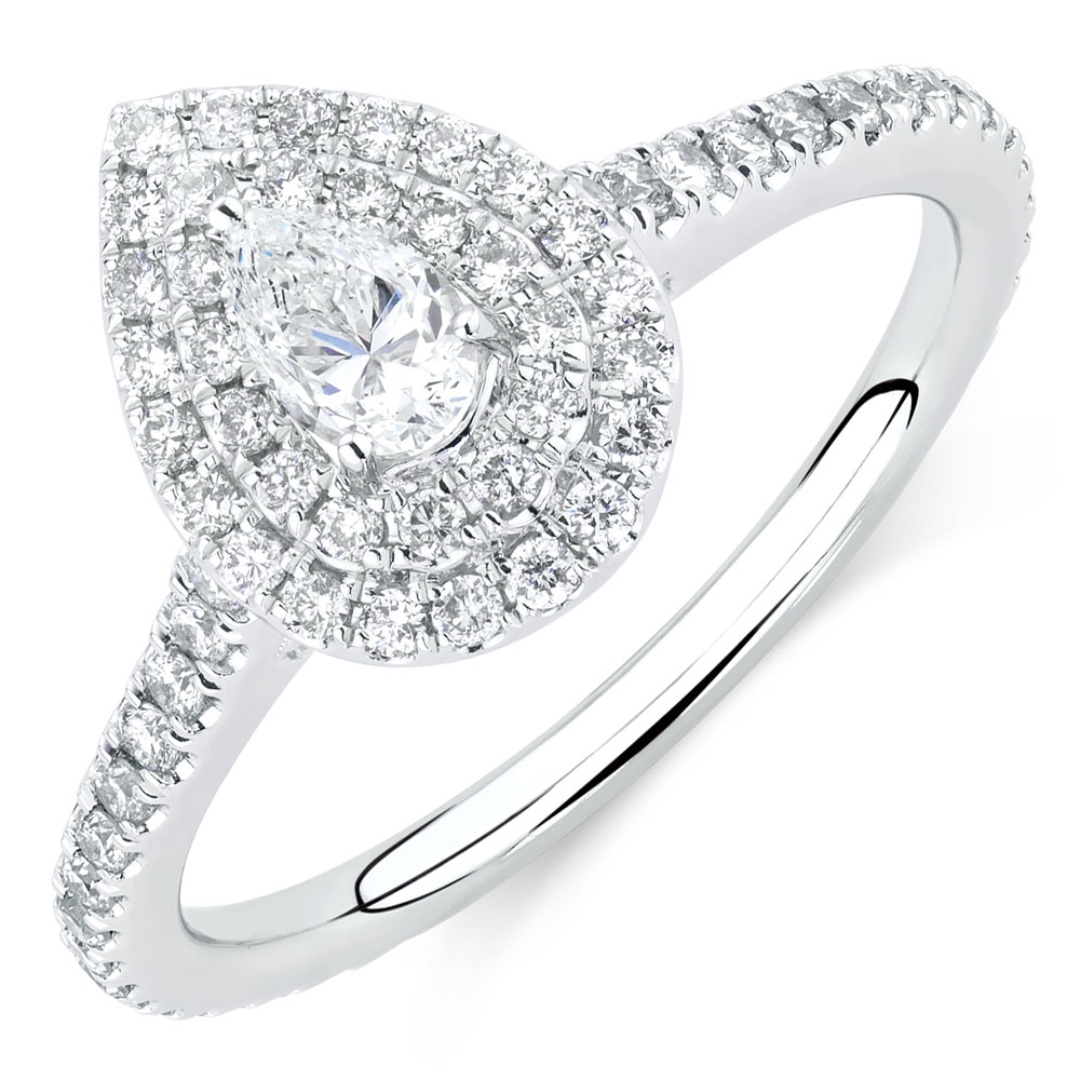 Michael Hill Engagement Ring 0.87 Carat Diamonds in 14ct White Gold