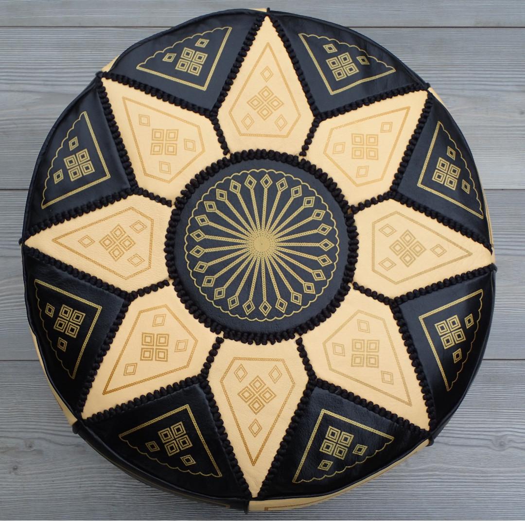 Moroccan Leather Footstool, Ottoman, Pouffe, Pouf - Black/Cream.