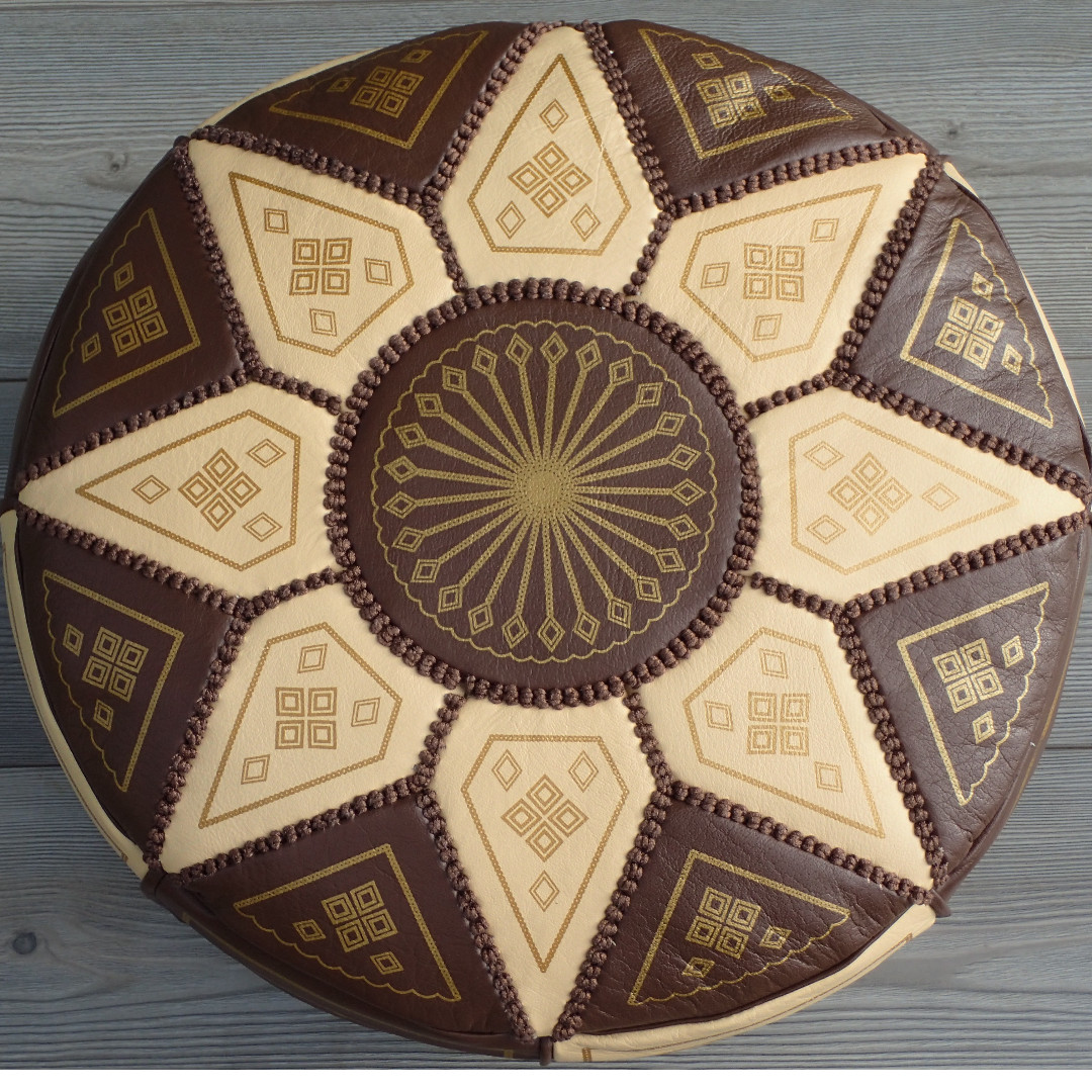 Moroccan Leather Footstool, Ottoman, Pouffe, Pouf - Brown/Cream.