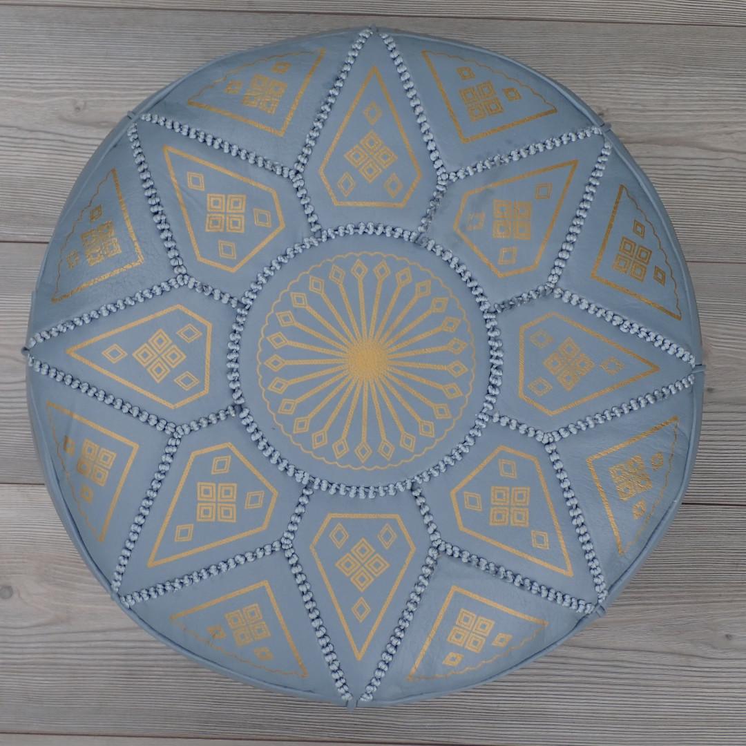 Moroccan Leather Footstool, Ottoman, Pouffe, Pouf - Grey.
