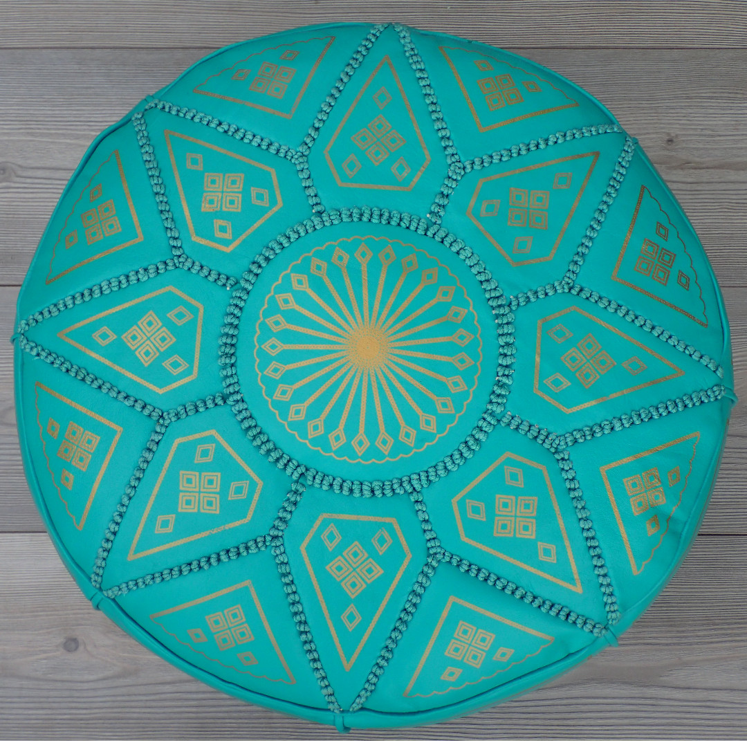 Moroccan Leather Footstool, Ottoman, Pouffe, Pouf - Turquoise.