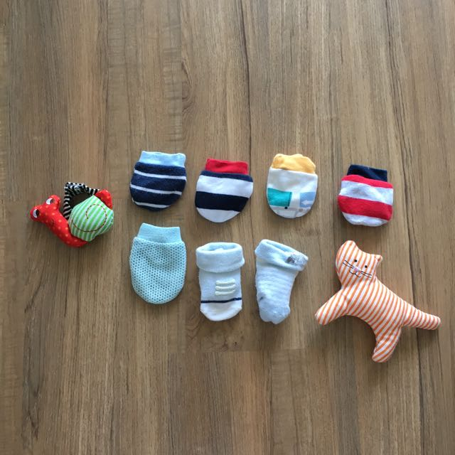 Mothercare mittens, booties and rattle toys