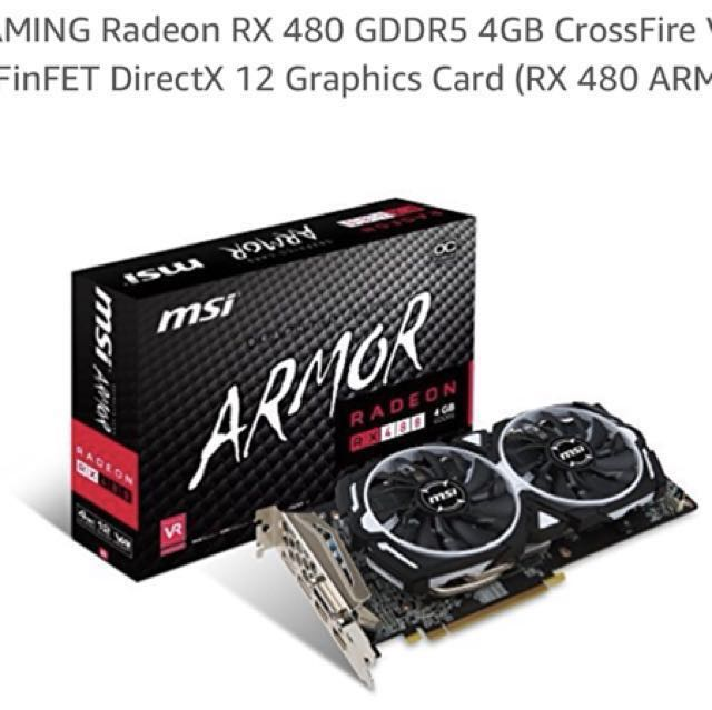 MSI Gaming Radeon RX 480 GDDR5 4GB ARMOR GPU MINING FOR ETHEREUM 29MH  HASHRATE OVERCLOCK UNDERVOLT !
