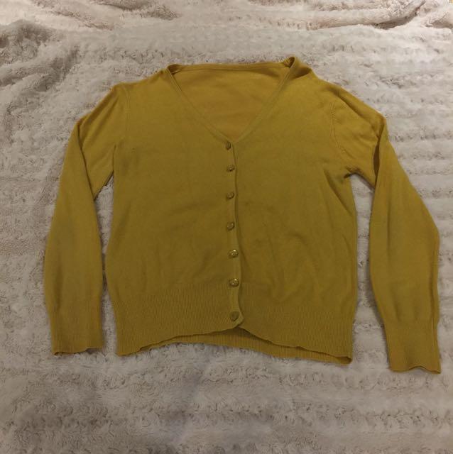 Mustard V-Neck Cardigan - Size S