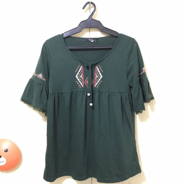 navy green blouse