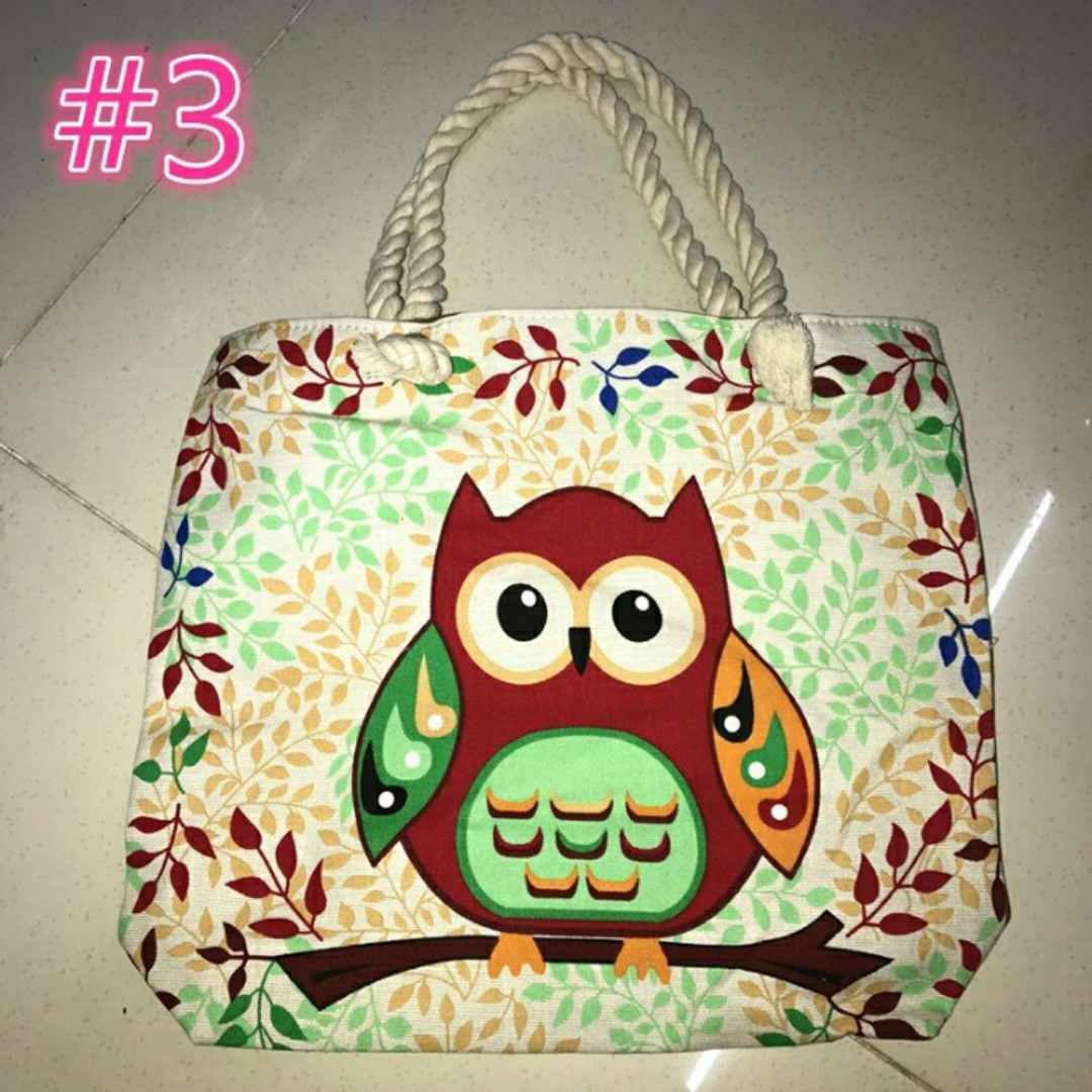 Owl Tote Bag ( big size )
