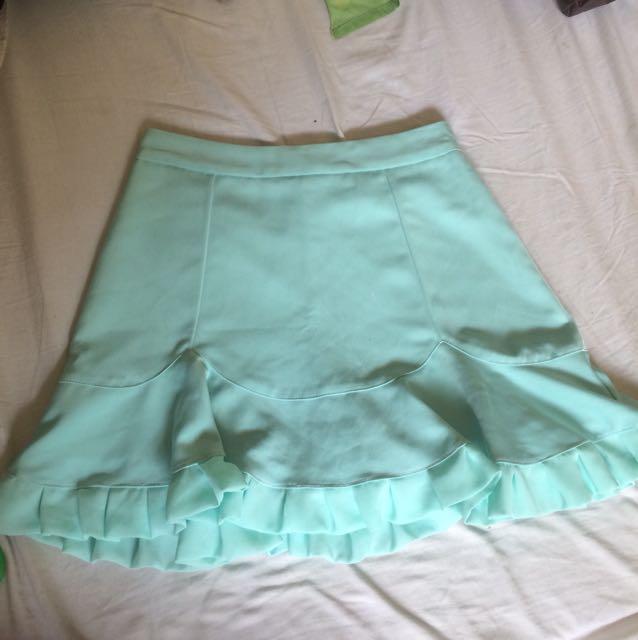 Pastel green high waist mermaid skirt shorts