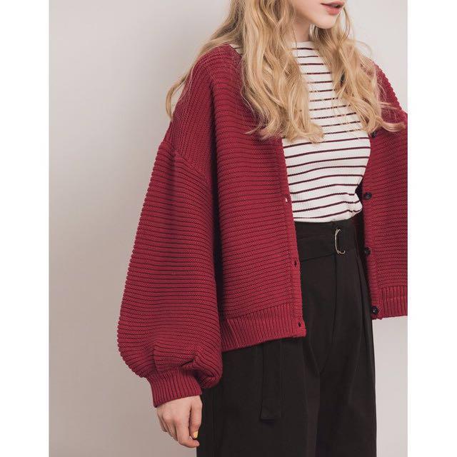 Pazzo 拋拋袖針織排釦外套 紅色