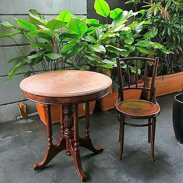 Peranakan Kopitiam Marble Table And Chair Furniture Home Decor Antiques On Carousell