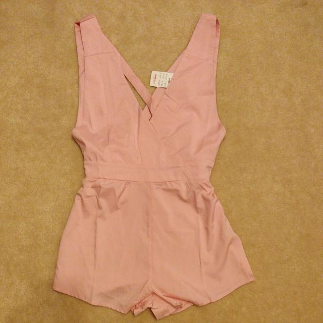 Pink backless romper