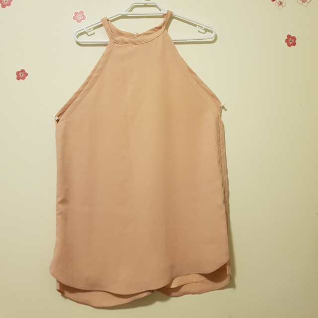 Pink beige peach halter neck button elegant formal top shirt silk chiffon