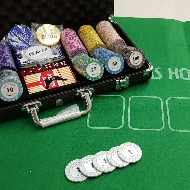 Board game with cards and poker chips casino castera