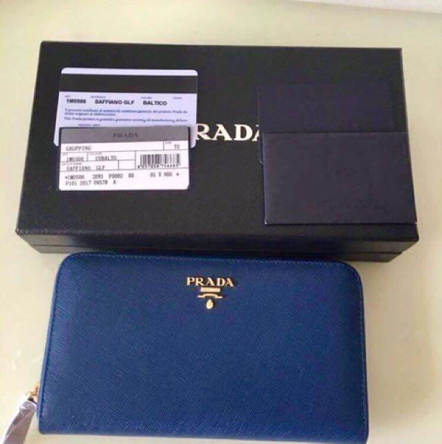 Prada Saffiano Cobalt Blue Wallet