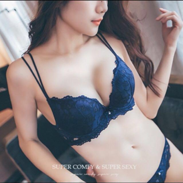 PUFII 帕妃 蕾絲縷空心機厚墊爆乳心機內衣褲組 胸罩組 34/75 深藍 全新 #有超取最好買