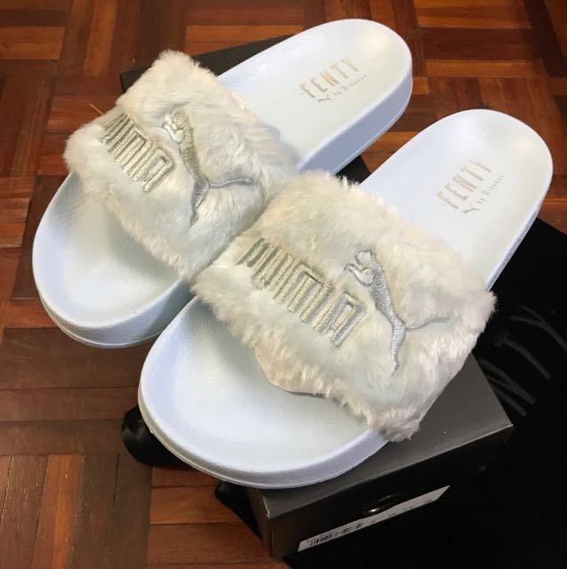size 40 883b3 cd692 Puma fenty fur slides cool blue