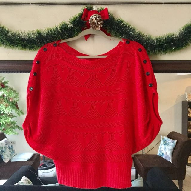 Red Knit Blouse
