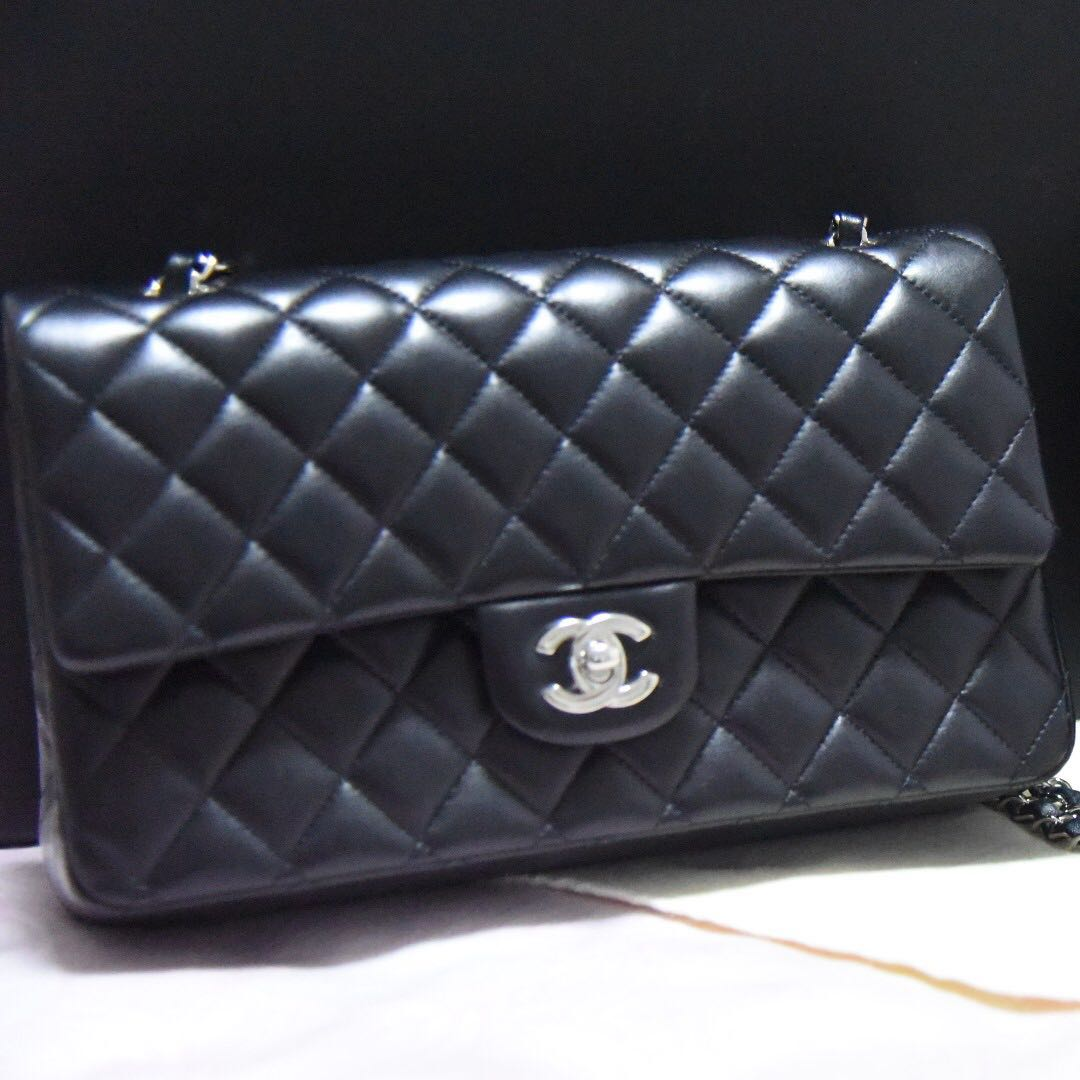 Reserved Chanel Classic Double Flap Lambskin Bag With Silver Hardware Luxury Bags Wallets On Carou