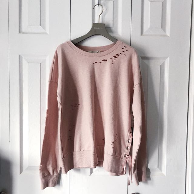 RIPPED LACED PINK SWEATSHIRT, FOREVER 21.