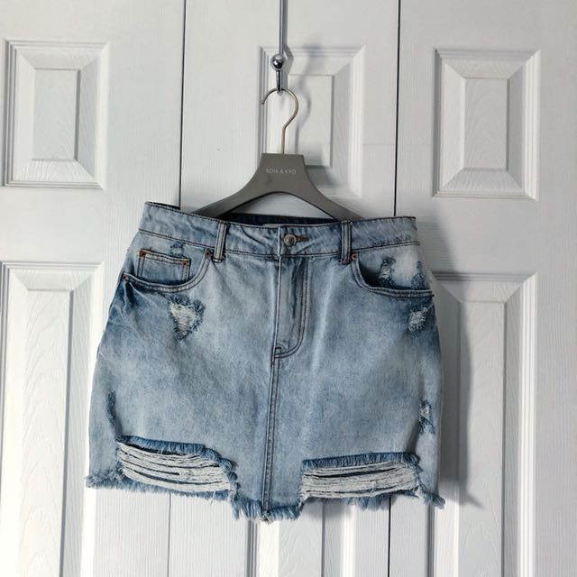 RIPPED WASHED SKIRT, FOREVER 21.