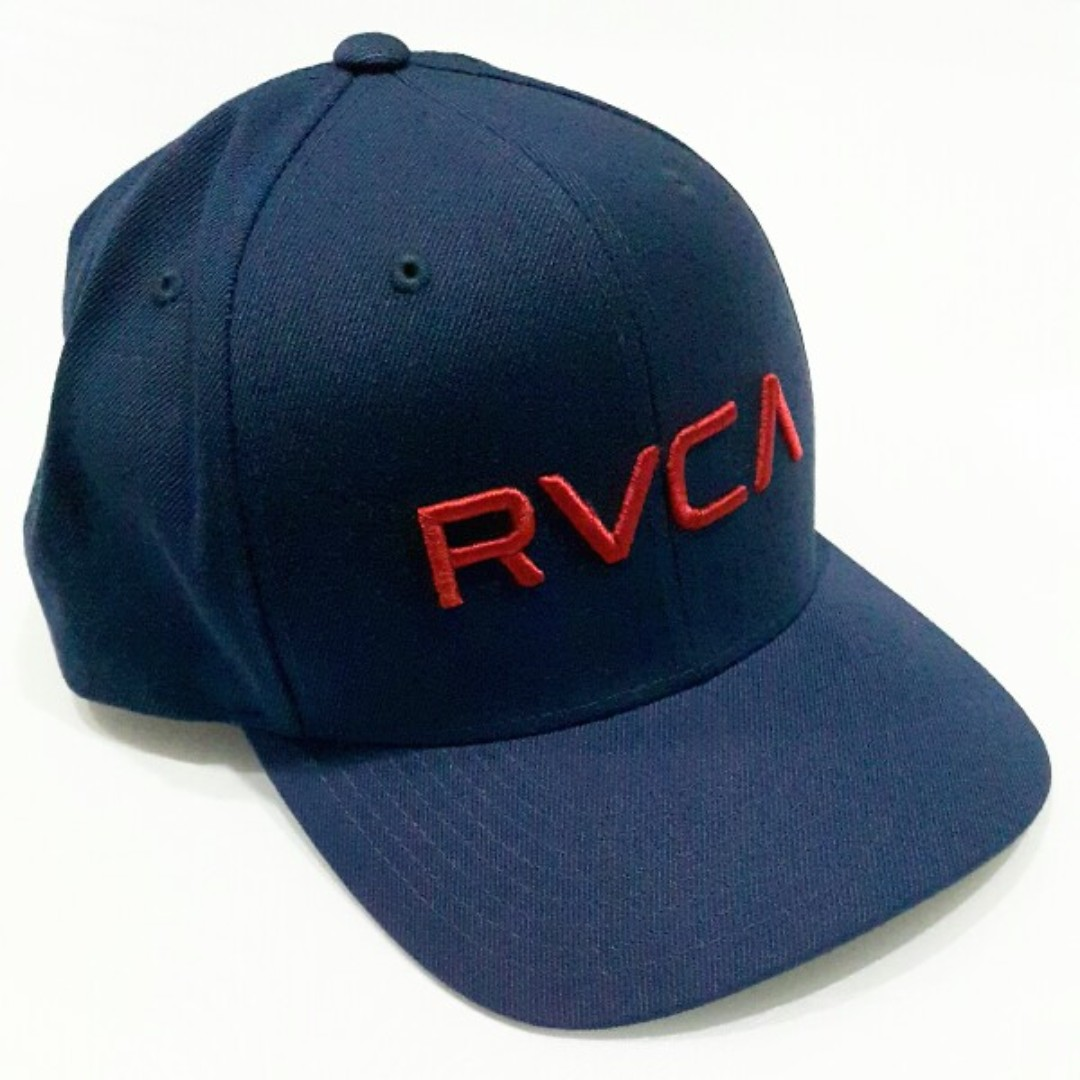 709142f1 RVCA Twill Snapback III - Navy blue with red embroidery brand ...