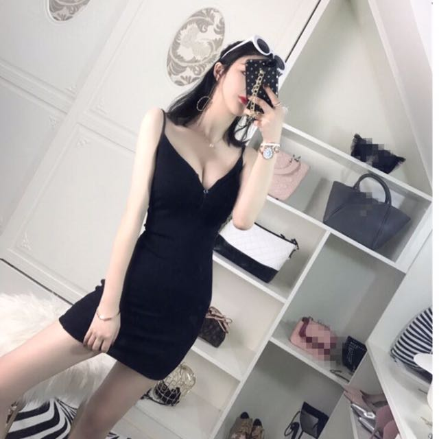 Sexy elegant black Knitted dress