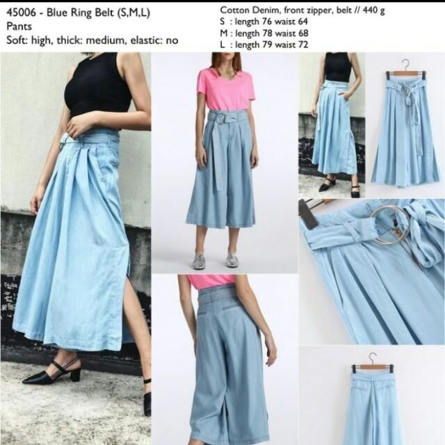 Skirt denim jeans blue ring belt