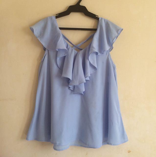 Sky blue cross back blouse