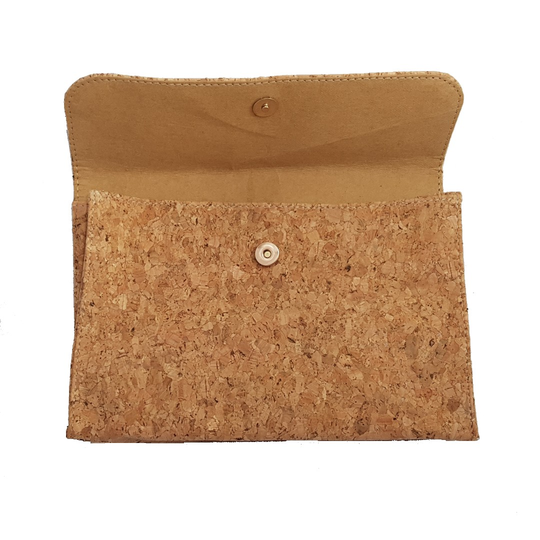 Snap Button Cork Clutch cum Handbag with Sling
