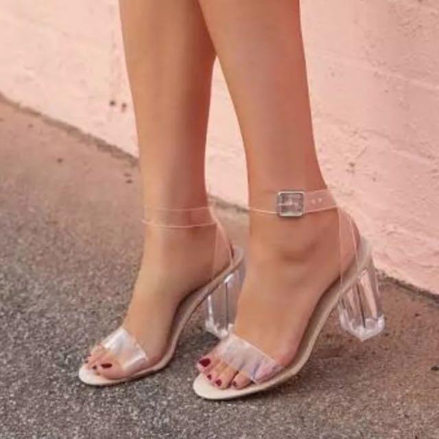 da1f7dda39c Sportsgirl Crystal Clear Block Heel