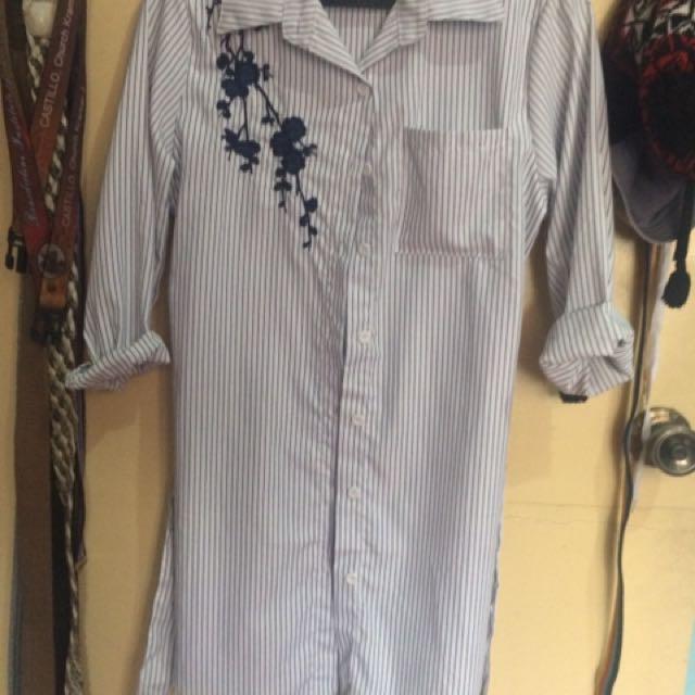 Striped Long Sleeve Polo Dress