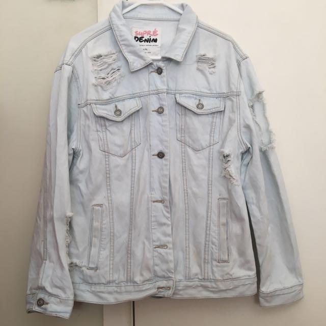 Supre Ultra Destroyed Denim Jacket - L/XL