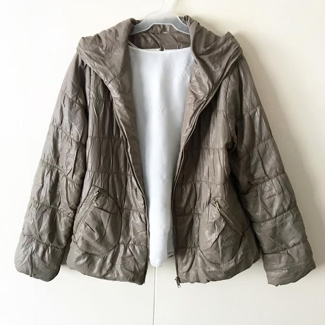 Tan Hooded Bubble / Winter Jacket