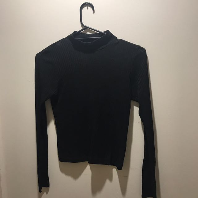 Topshop sheer ribbed turtle neck size 6-8