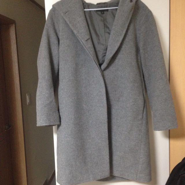 Uniqlo連帽長版大衣外套羊毛呢外套