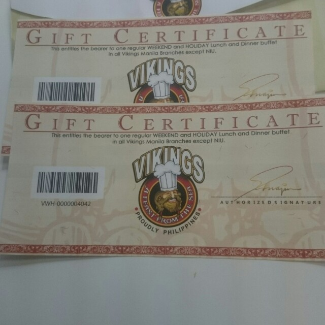 VIKINGS GIFT CERTIFICATE 2 PCS. For sale