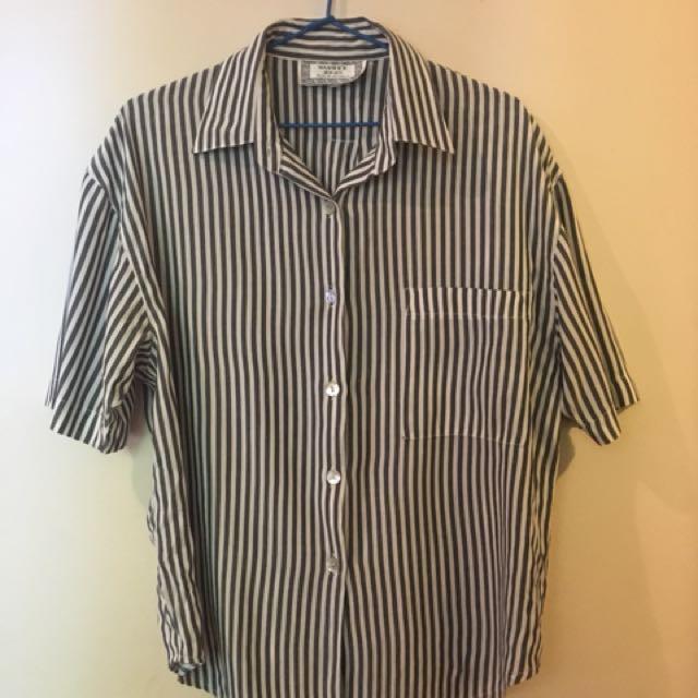 Vintage Grey Striped Blouse
