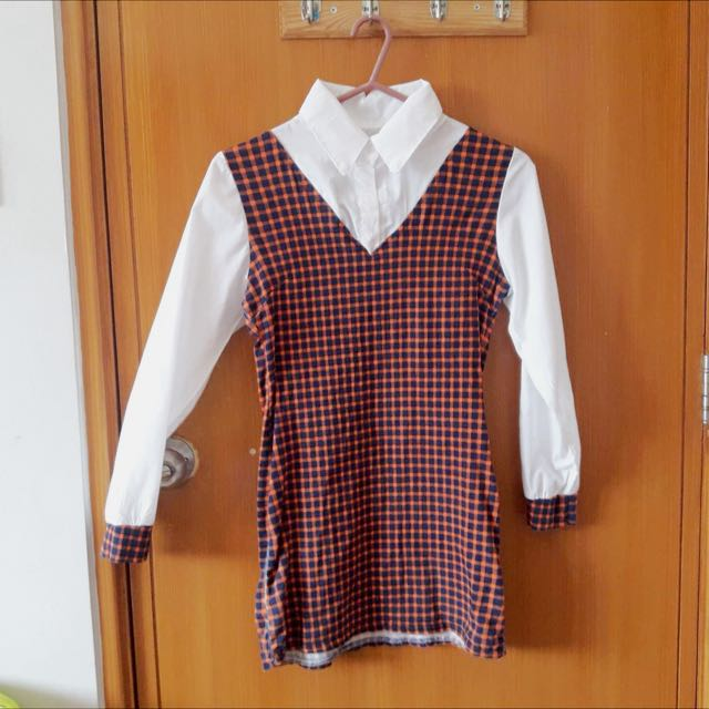 White Checkered Blouse