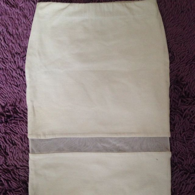 Zara Midi White Pencil Skirt